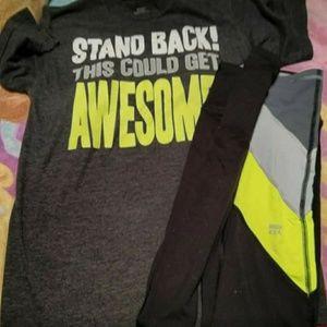 XS VS Pink leggings and Small Nike Tshirt that mat